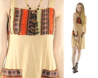 Vintage 70s Hippie Dress Patchwork Sundress Sleeveless 1970s Women's Fashion Small S Tan Brown Jumper Boho Festival