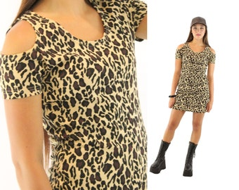 Vintage 90s Mini Dress NOS Leopard Print Spandex Body Con Dress Knit Date Dress 1990s Cutout Dress Small S