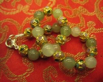 Natural Smoky Green Ice Jade . Vintage Style Golden Cloisonne Beads Bracelet