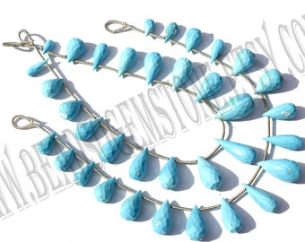 Sleeping Beauty Turquoise Faceted Drops (Quality B) / 4.5x9 to 8.5x17.5 mm / 11 to 13 Grms / 18 cm / TURQU-012