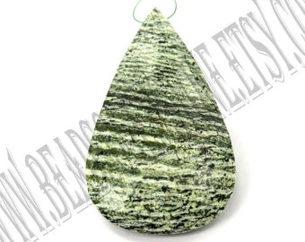 Green Zebra Jasper Faceted Focal Pear Pendant (Quality A) / 28x46 mm / 12 to 14 Grms / GREE-026