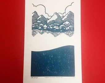 Look Out Mountain Look Out Sea linocut print