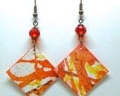 Painted Paper Earrings, Watercolor Earrings, First Anniversary Gift, Paper Anniversary Gift