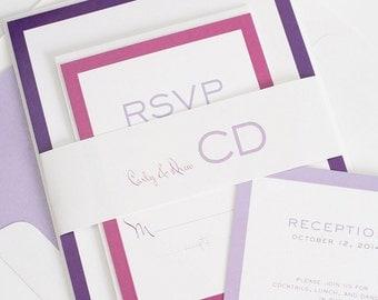Purple Ombre Wedding Invitations - Contemporary Monogram - Unique Wedding Invite - Modern Luxe Wedding Invitation