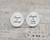 Forever and Always Cufflinks, Personalized with Names and Date