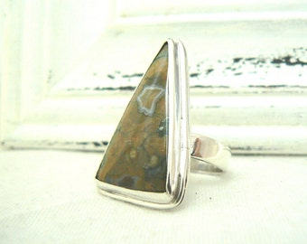 Sterling silver and Ocean Jasper Ooak Ring - jewelry cabochon gemstone 925 - Size 8.75 - READY TO SHIP