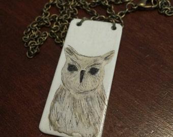Scrimshaw Necklace Lovely Owl OOAK