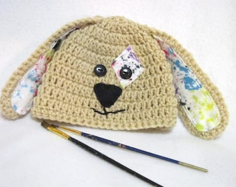 Tan Artist Puppy Baby Hat, Crochet Dog Paint Splatters Cap, MADE TO ORDER by Charlene, Baby Photo Prop, Puppy Hat with Fun Felt Felt