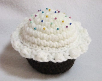 Crochet Chocolate Cupcake Pincushion, Gift for Seamstress, Chocolate Cupcake with White Icing with Colorful Pins by Charlene