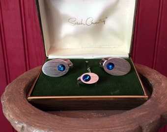 Vintage Sarah Coventry Cuff Links Silver and Blue