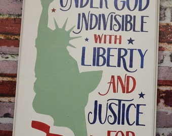 One Nation Under God/4th of July Subway Style Sign/Americana Sign/Holiday Decor/Statue of Liberty/Red/White/Blue/Wood Sign/Patriotic