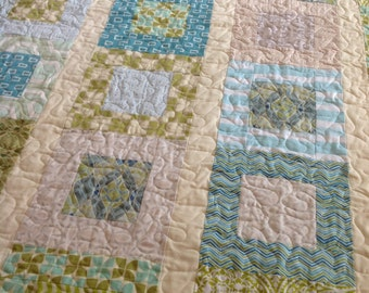 Lap Or Baby Quilt -- blue, green, taupe, cream -- pattern also available -- Funky Filmstrip