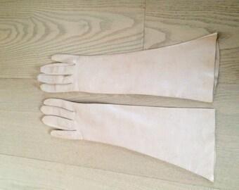 Vintage Kidskin Long Beige Leather Gloves