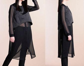 Black chiffon holiday two pieces dress shirt