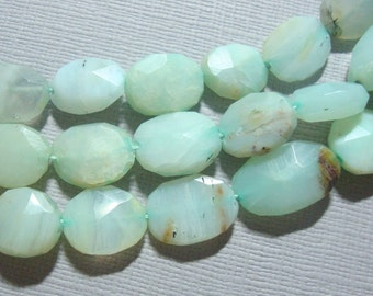 Green Blue Peruvian Opal Faceted Oval Beads, Full strand - 20% sale