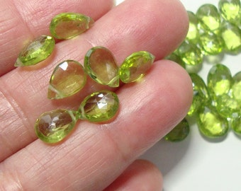 6 pcs, 8-9mm, Genuine Peridot Faceted Pear Briolette