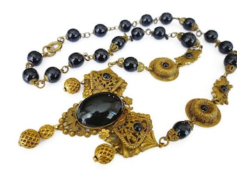 Art Deco Necklace, Czech Necklace, Black Jet Glass, Victorian Revival, Mourning Jewelry, Gilt Filigree, Antique Jewelry