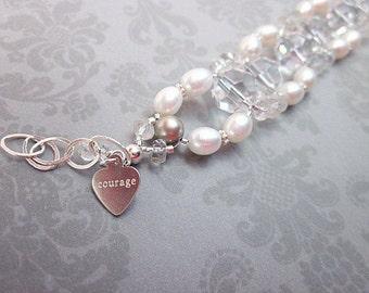 Pearl & Clear Bracelet -- Double Strand Pearl Bracelet -- Elegant Pearl Bracelet -- Bridal Bead Bracelet -- White Pearl Bracelet
