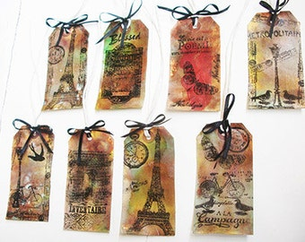 French Tags. Handmade Tags. Gift Tags. French Gift Tags. Fabric Tags. Paper Tags. Gothic Tags. Artists Inks. French Stamps. Ribbons.