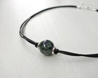 Black leather choker marbled ceramic bead women's choker necklace green blue bead
