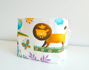 Reversible Fabric Basket - Wild Animals in Blue, Red, Orange and Yellow