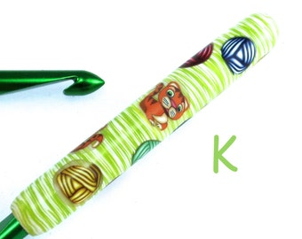 Susan Bates, K 10.5/ 6.50mm, Polymer Clay Covered Crochet Hook, Cat Design