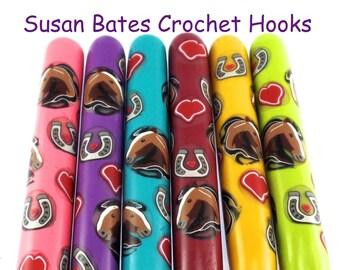Crochet Hook, Polymer Clay Covered Susan Bates Crochet Hook, Horse Design