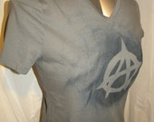 Reserved Custom Order for Quin Anarchy Symbol  Painted  Upcycled Long T Shirt