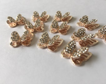 5 pcs 3D Light Golden Rhinestone Butterfly Charms Cabochons