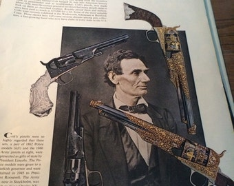 Magazine article photos and descriptions of the Colt Revolver circa 1962. 13 x 10 page sizes suitable fir framing.