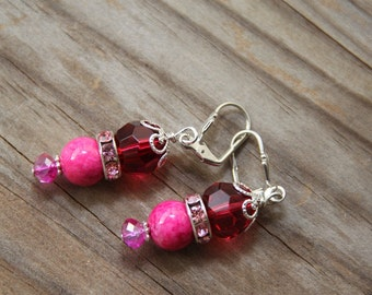 dangle earrings, Japanese acrylic Raspberry color  #29 Candy Collection