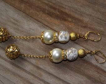 Dangle Drop earrings, Porcelain, Faux pearl, rhinestones
