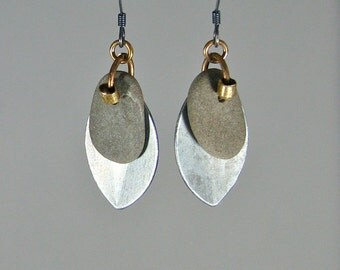 Beach stone and recycled metal leaf-form dangle earrings