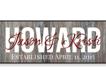 Personalized Family Name Sign Last Name Established Plaque Sign 7x20