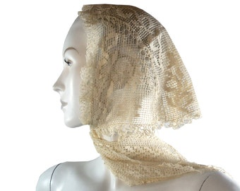 Dainty Antique c. 1830 cream Austrian Crochet Head Scarf Hand Made in Austria