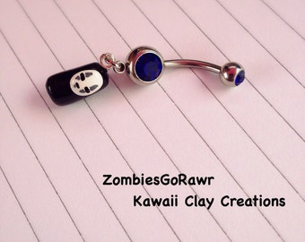 Kawaii No Face Inspired Belly Navel Ring