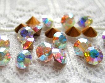 PP27 / SS14 Vintage Rhinestone Crystal Aurora Borealis Round Qty 20