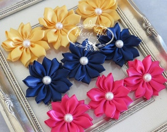 New: Set of 9 Blissful Collection- MAGICAL CAROUSEL Yellow Navy Hot Pink Small satin Flowers with pearl center. Satin CLuster pearl flowers.