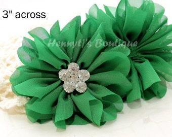 "Ballerina Daisy : GREEN  3.2"" inch Shabby Silk Chiffon Ruffled Tutu Fabric Flowers, Bridal Flowers, DIY Headband Hair Supplies Accessories"