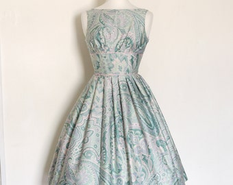 Mint Green & Pink Paisley Tiffany Prom Dress - Made by Dig For Victory