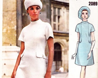 60s PERTEGAZ High Collar Mod Dress Pattern Vogue Couturier Design 2089 Plus Size Vintage Sewing Pattern Size 16 Bust 38 inches