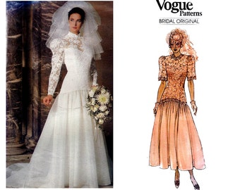 80s Drop Waisted Wedding Dress Pattern Vogue Bridal Original 1660 Floor Length or Train Deep Ruffled Hem Size 16 Bust 38 Inches