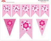 Pink Flowers blossom girl  Printable Party Banner Happy Birthday - pink baby floral - Instant Download Printable PDF