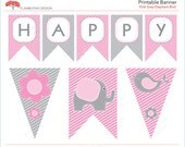 Elephant Bird flower Printable Party Banner Happy Birthday - pink grey - Instant Download Printable PDF