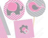"Elephant Bird pink grey Printable Party Tags - Cupcake Toppers - 1,5"" animals wildlife flower - Instant Download"