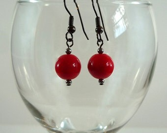 Bright Red Earrings Bright Red Czech Glass Earrings Red Drop Earrings Red Gun Metal Earrings Bright Red Glass Drop Earrings