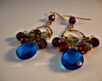 Gemstone Cluster Earrngs,hoop earrings,gemstone earrings,gold earrings,gemstone cluster,gold hoop earrngs,gold hoops,gemstones,cluster