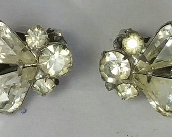 Weiss Clear Rhinestone Clip Earrings