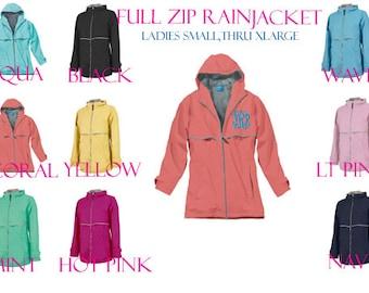 Monogrammed Full Zip Ladies Rain Jacket