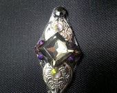 Gwendoline Bindi, re-useable bellydance / festival forehead gem, silver and purple
